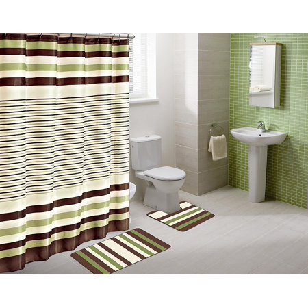 Winry Sage Green Striped Piece Bathroom Accessory Set Bath