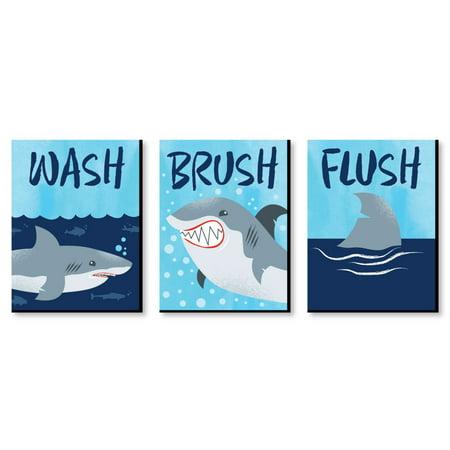 Shark Zone - Kids Bathroom Rules Wall Art - 7.5