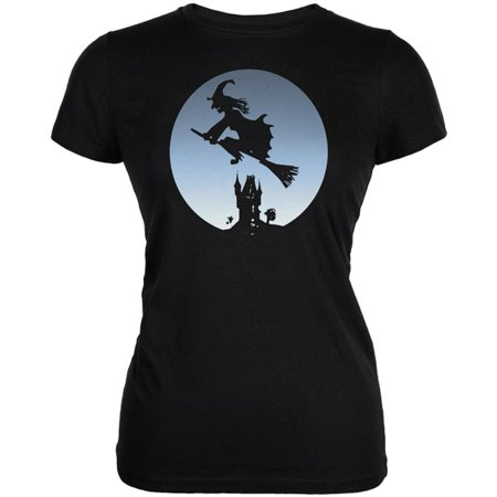 Halloween Witch Riding Broomstick Full Moon Juniors Soft T - Halloween Lift Ride