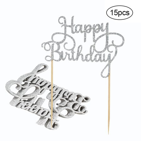15pcs Glitter Paper Happy Birthday Cake Topper Cupcake Dessert Decoration Supplies for Birthday Party Celebration--Silver - Cake Decorations For 60th Birthday