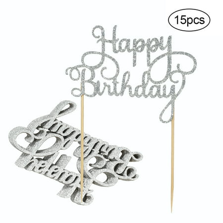 15pcs Glitter Paper Happy Birthday Cake Topper Cupcake Dessert Decoration Supplies for Birthday Party Celebration--Silver - Cake Decorations For 1st Birthday