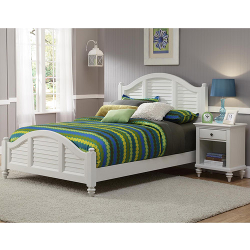 Home Styles Bermuda Queen Bed and Night Stand, Brushed White