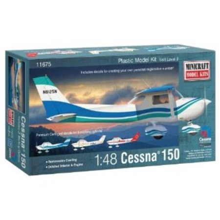 Minicraft Cessna 150 with Multiple Marking Options Model Kit, 1/48 Scale Multi-Colored