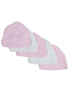 Baby Caps, Pink & White - Pack of 5