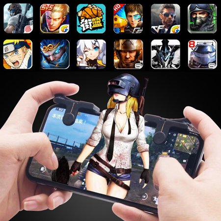 1 Pairs Mobile Phone Gaming Trigger Fire Button Smartphone Shooter Controller for PUBG - image 4 of 5