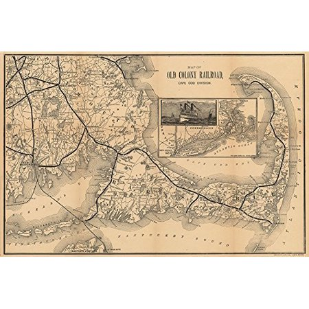04c89473acbff 1888 Vintage Old Colony Railroad Map Cape Cod Division 12x18 Art Print  Poster..., By Buyartforless Ship from US