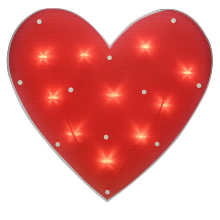 """14.25"""" Lighted Red Heart Valentine's Day Window Silhouette Decoration"""