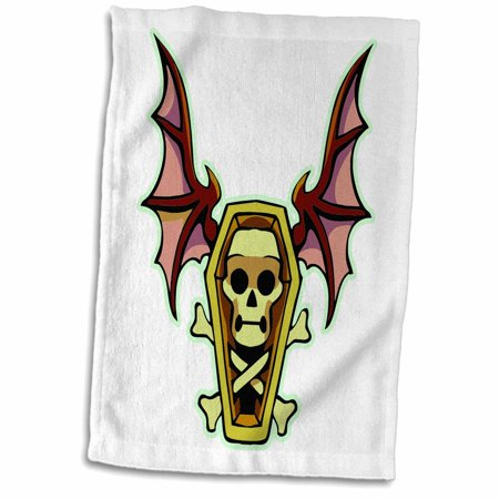 3dRose Spooky Halloween Skeleton and Coffin with Bat Wings - Towel, 15 by 22-inch - Bat Wings Halloween Food