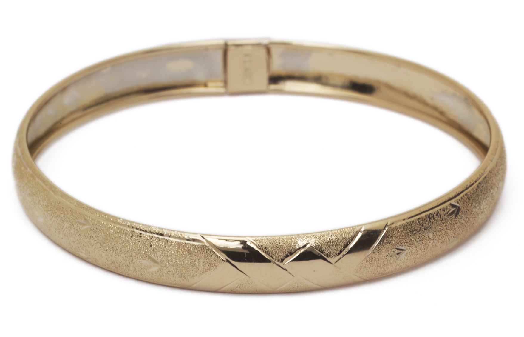 10k Yellow Gold bangle bracelet Flexible Round with Diamond Cut Design (0.3 ) by Glad Gold