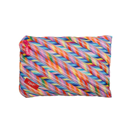 ZIPIT Colorz Large Pencil Case for Girls, Large Capacity Pouch, Holds Up to 60 Pens, Made of One Long Zipper! (Stripes)