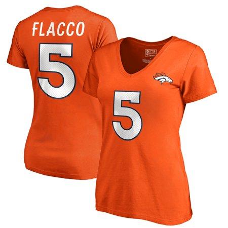 Joe Flacco Denver Broncos NFL Pro Line by Fanatics Branded Women's Authentic Stack Name & Number V-Neck T-Shirt - Orange