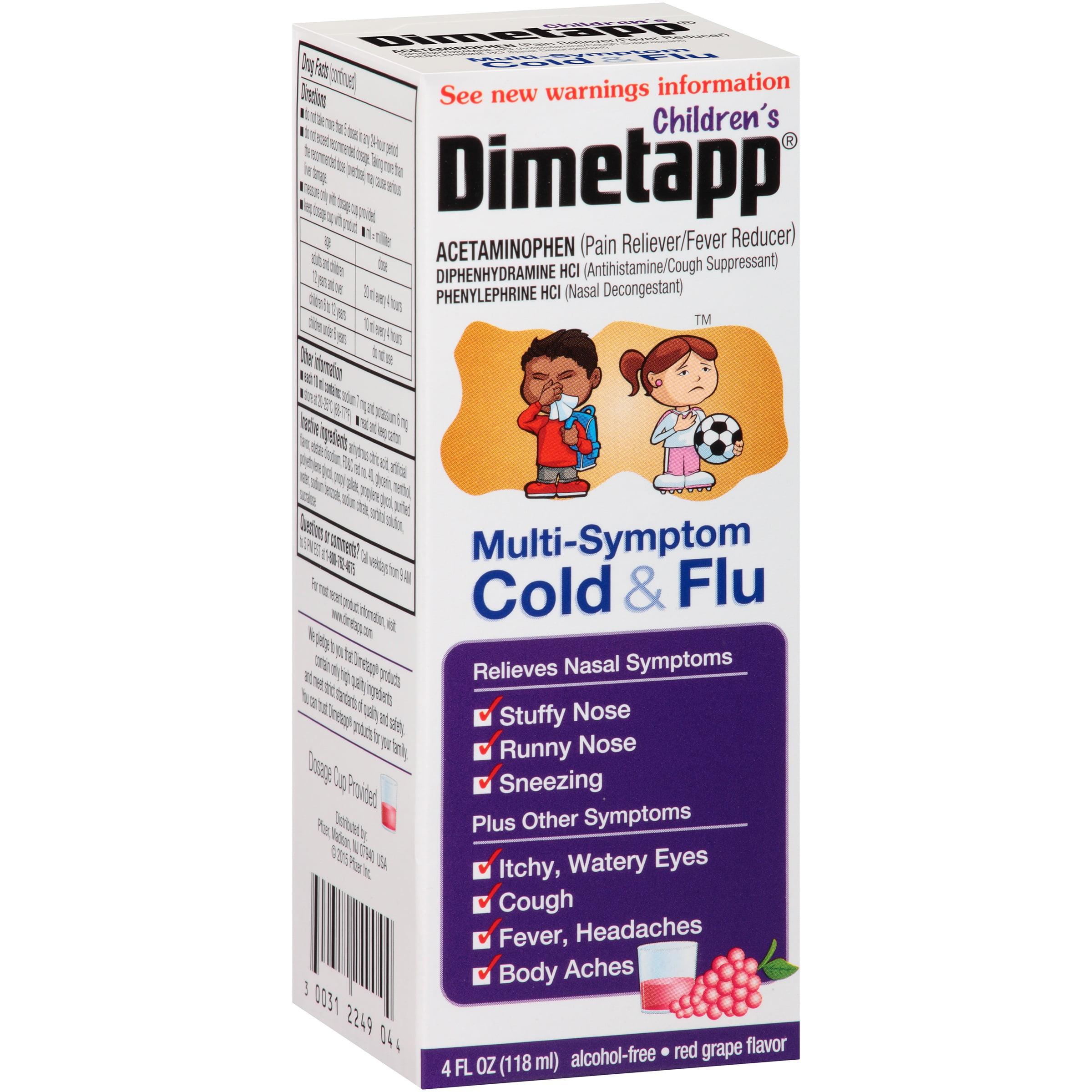 Dimetapp Children's Multi-Symptom Cold & Flu Red Grape Flavor, 4.0 FL OZ