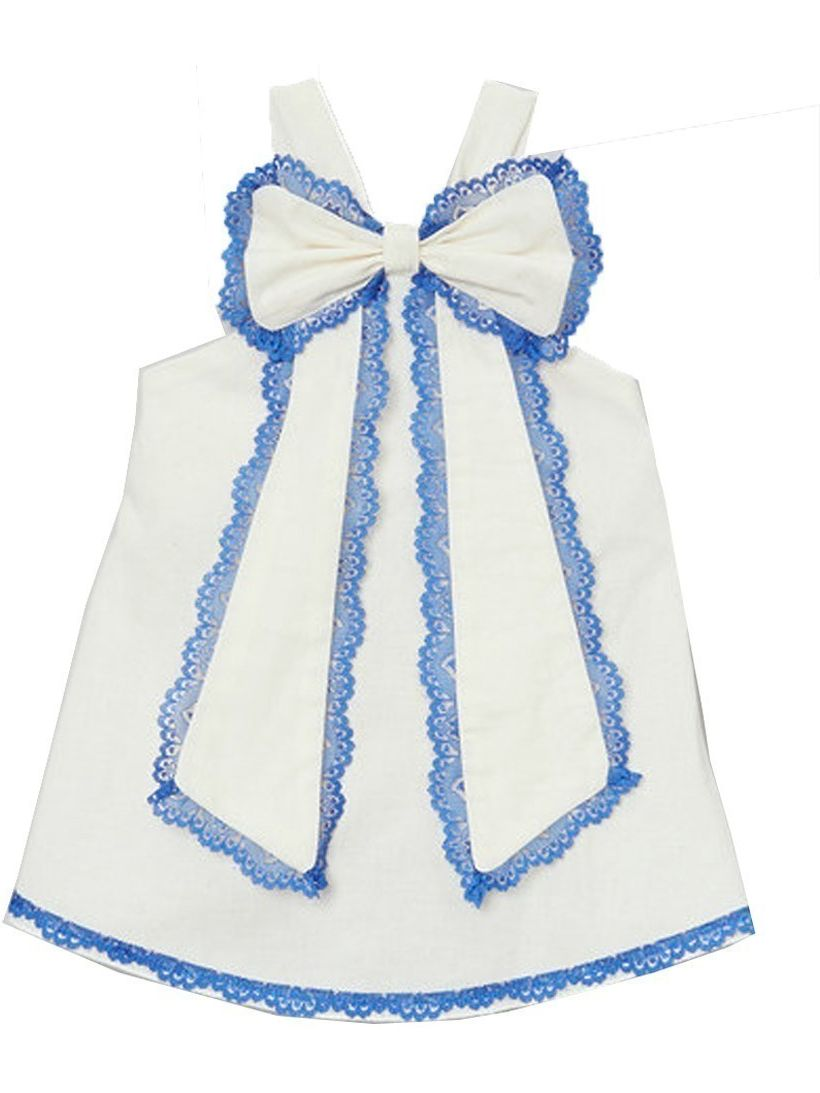 Little Girls Ivory Blue Scalloped Lace Trim Bow Accent Sleeveless Shirt 12M-6