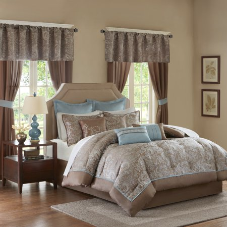 Home Essence Isabella Jacquard 24 Piece Room in a Bag Gold King Comforter