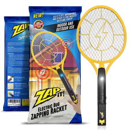 Zap-It! Bug Zapper - Rechargeable Mosquito, Fly Killer and Bug Zapper  Racket - 3000 Volt - USB Charging, Super-Bright LED Light to Zap in the  Dark -