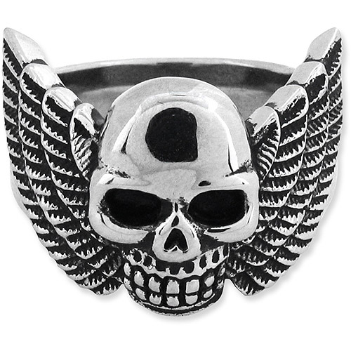 Steel Art Stainless Steel Skull with Wings Ring, Size 8