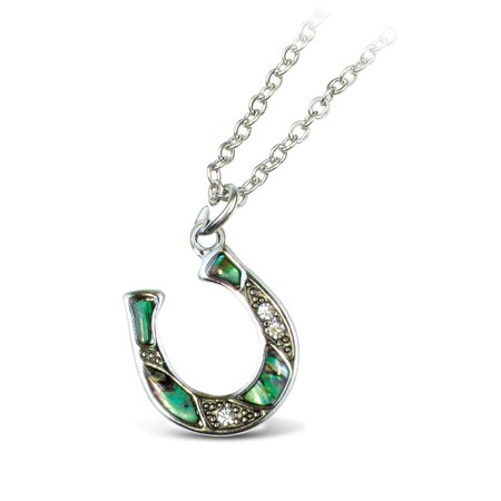 Paua Heart (Aqua Jewelry - Necklace - Link Style Chain 18