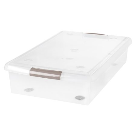 IRIS 40-Qt. Underbed Store-and-Slide Plastic Storage Box with Tan Handle, Clear - Large Underbed Storage