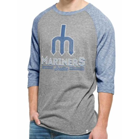 Seattle Mariners 47 Brand Vintage Grey Blue Union Tri-Blend Baseball T-Shirt by