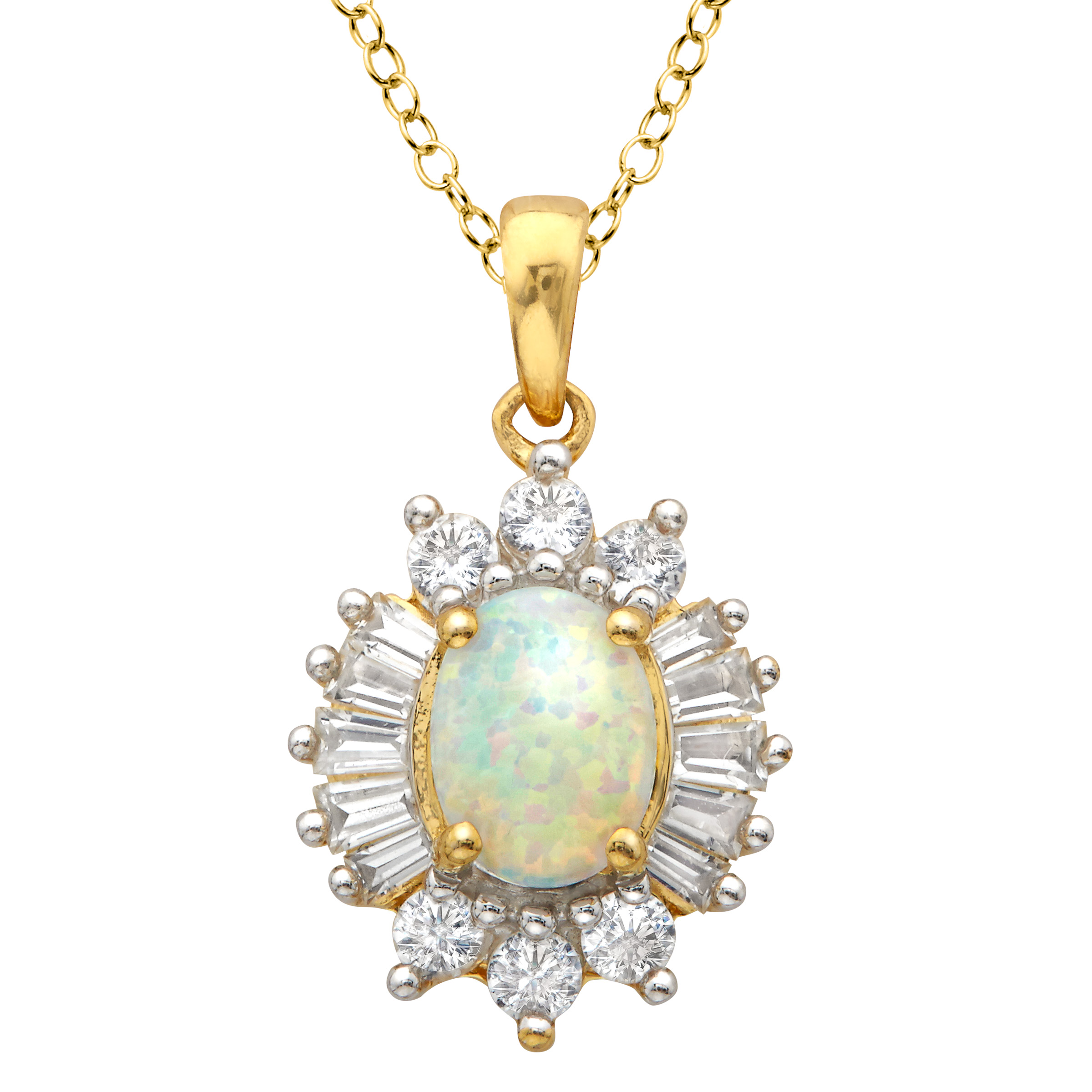 1 2 ct Created Opal & Created White Sapphire Pendant Necklace in 18kt Gold-Plated Sterling Silver by Richline Group