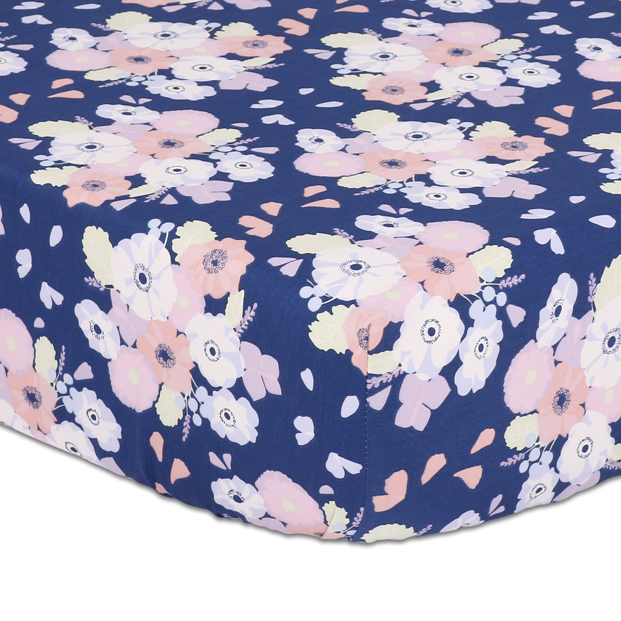 Navy Blue Floral Fitted Crib Sheet by The Peanut Shell