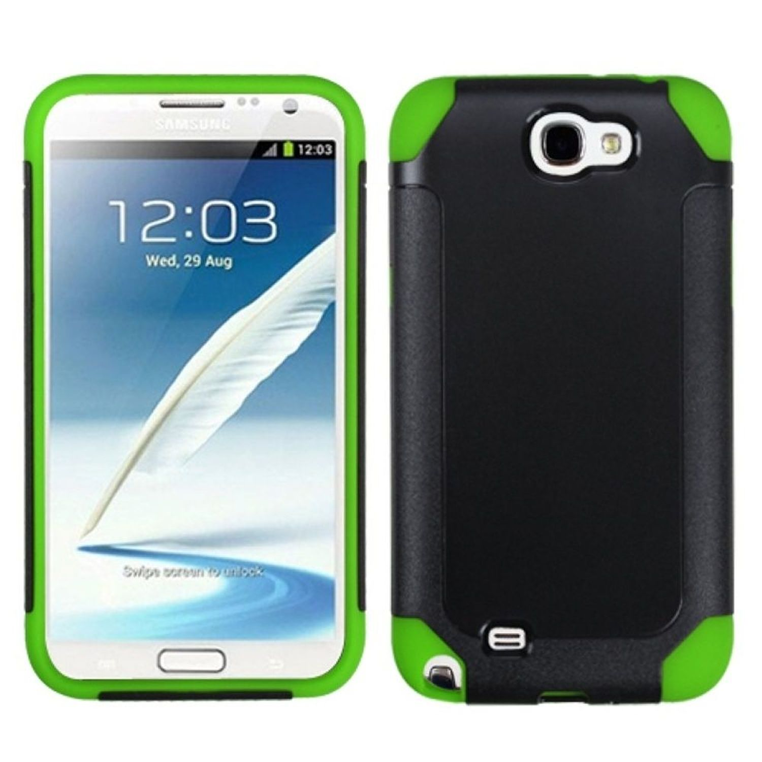 Insten Black/Green Frosted Fusion Case for SAMSUNG: Galaxy Note II (T889/I605/N7100)