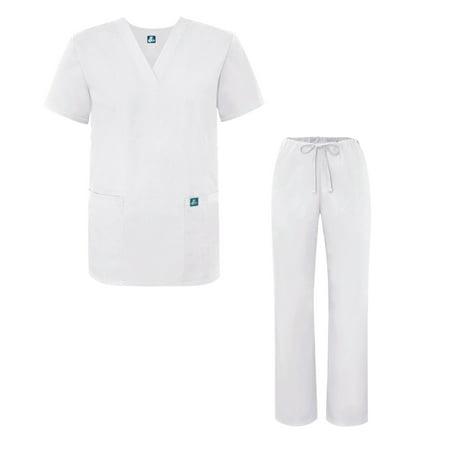 8d0f81e375d Adar - Adar Universal Medical Scrubs Set Medical Uniforms - Unisex Fit -  701 - WHT - 2X - Walmart.com
