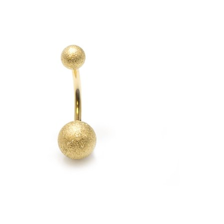 Gold Belly Button Ring 14G Sand Finish Ball Ends Navel Ring Body Jewelry ()