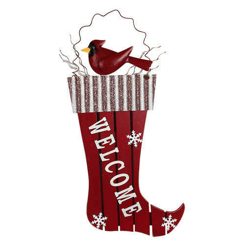 Attraction Design Home Christmas Holiday Stocking/Bird Welcome Ornament Wall Hanging
