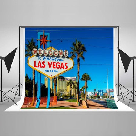 HelloDecor Polyster 7x5ft Welcome to Las Vegas Sunny Day Sign Holiday Visited Photo Photography Backdrop Studio Popular Background - Holiday Backdrops