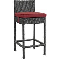 Modern Contemporary Urban Design Outdoor Patio Balcony Garden Furniture Bar Side Stool Chair, Sunbrella Rattan Wicker, Red