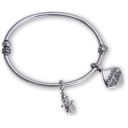 Connections From Hallmark Stainless Steel Celebrate Life Bangle And Snowman Charm Set