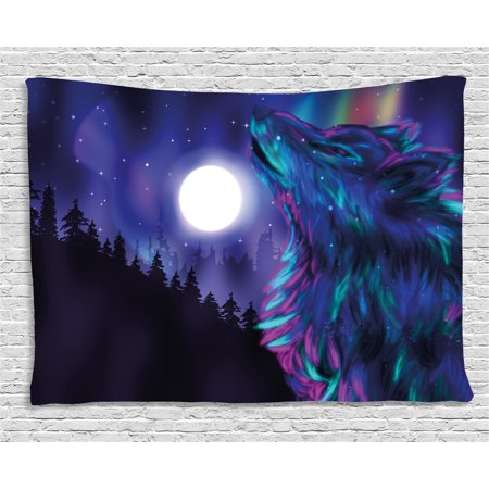 Moon Tapestry, Northern Imagery with Aurora Borealis Wolf Spirit Magical Forest Starry Night, Wall Hanging for Bedroom Living Room Dorm Decor, 60W X 40L Inches, Indigo Aqua Magenta, by - Aurora Hanging