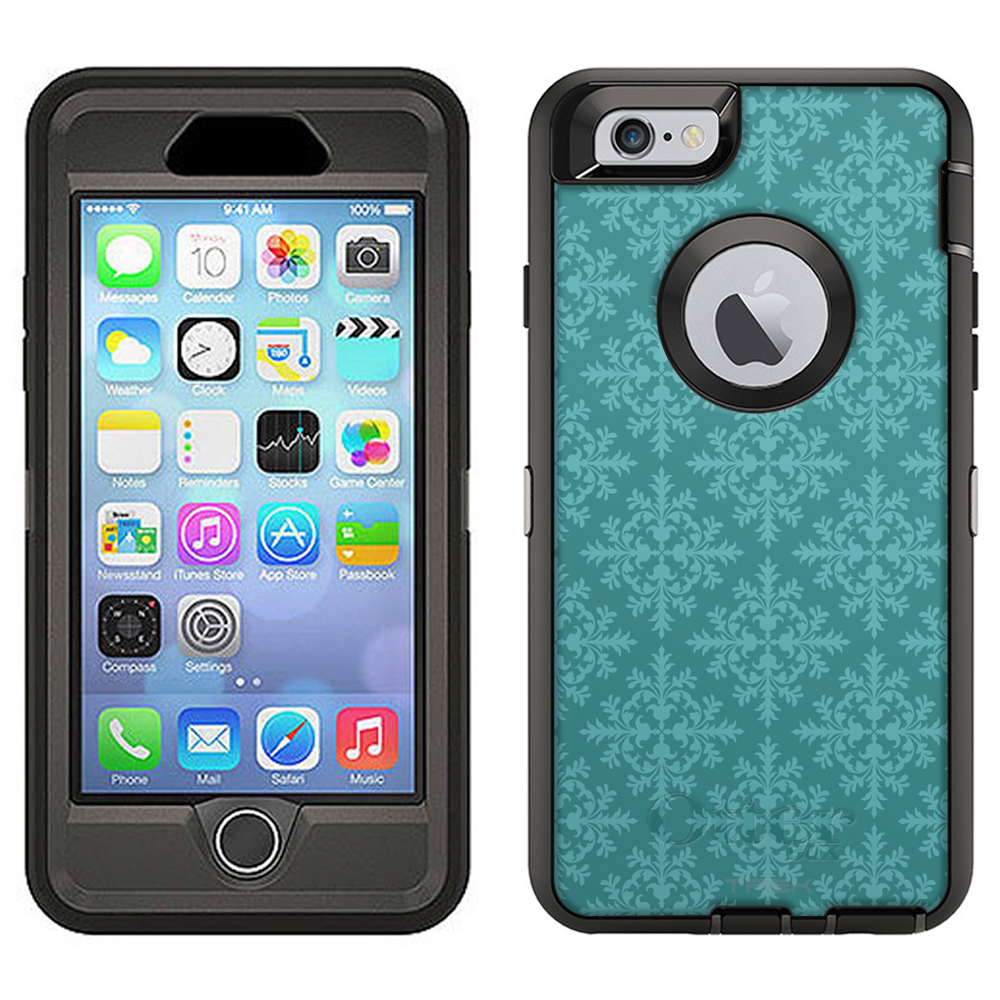 Skin Decal for Otterbox Defender Apple iPhone 6 Plus Case Victorian Seamless Teal Blue by Trek Media Group