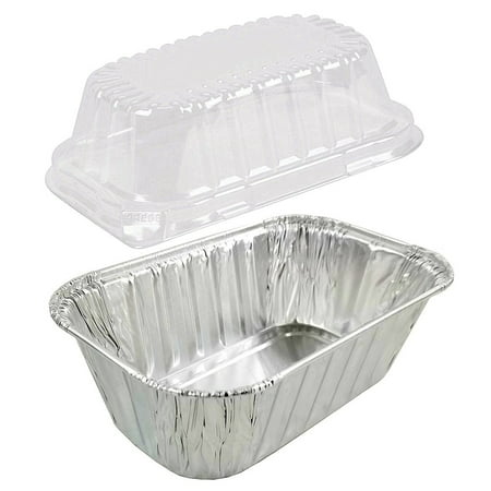1 lb. Aluminum Foil Small Mini-Loaf Bread Pan w/Clear Dome Lid (Pack of 50 (Ez Foil Mini Loaf Pans With Lids)