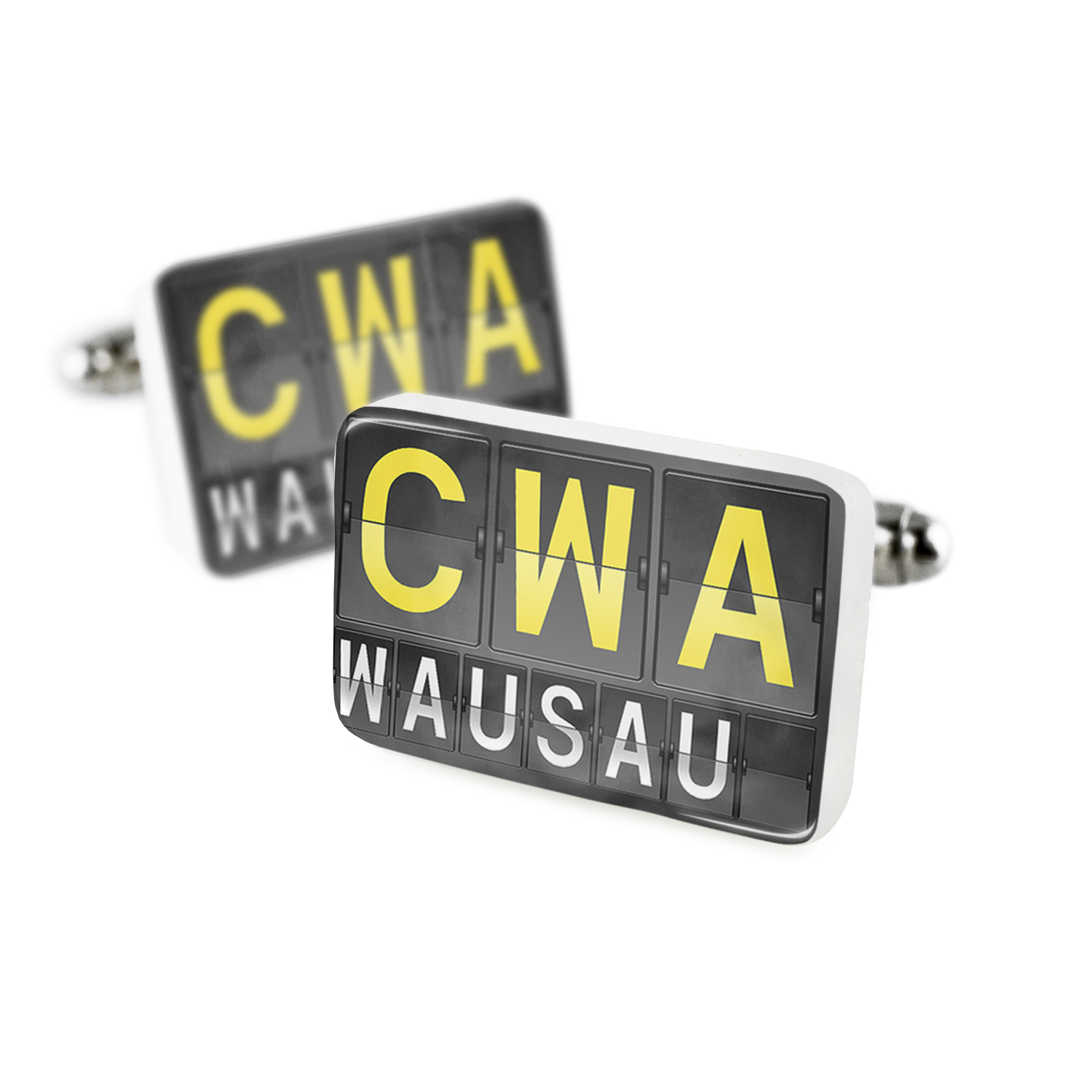 Cufflinks CWA Airport Code for WausauPorcelain Ceramic NEONBLOND