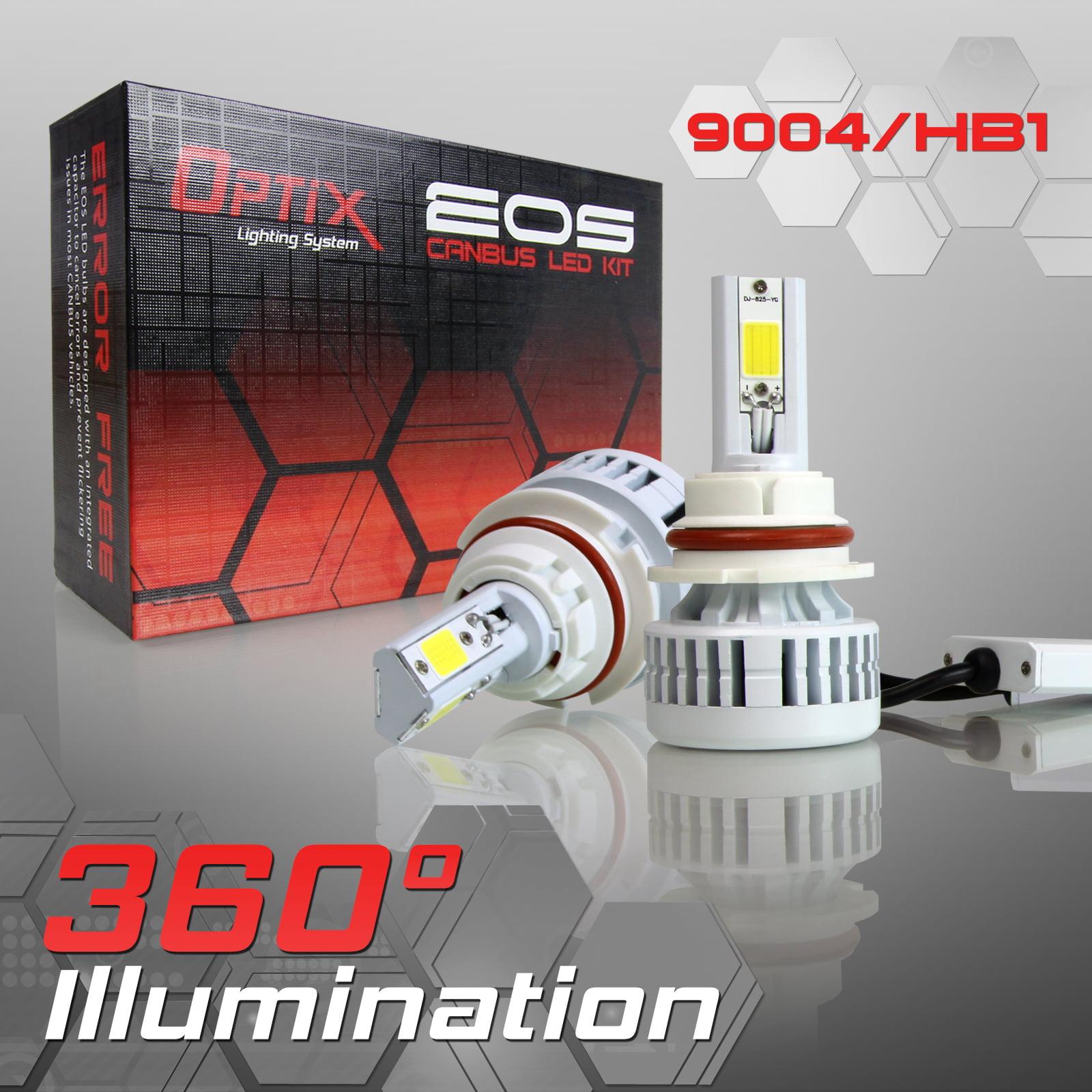 Optix 9004 LED EOS Headlight Bulb High/Low Beam Conversion Kit - 6000K White 80W 8000LM - 3-Sided Error Free Canbus Complete Kit