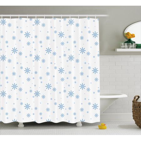 - Winter Shower Curtain, Cold December Design Simple Seasonal Snowy Weather Ice Frost Gentle Winter Icons, Fabric Bathroom Set with Hooks, 69W X 70L Inches, Blue White, by Ambesonne