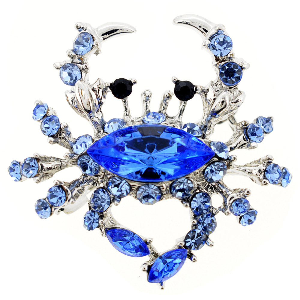 Blue Crab Sapphire Crystal Pin Brooch by