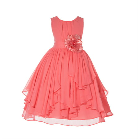 Ruched Bodice - Ekidsbridal Yoryu Chiffon Ruched Bodice Toddler Flower Girl Dress Holiday Dresses Special occasion dresses 162F 6
