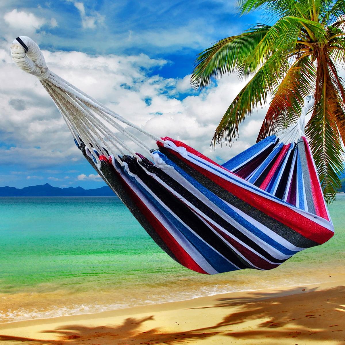 Apontus Portable Nylon Hammock for Outdoor Camping Beach (Multi Color Stripe)