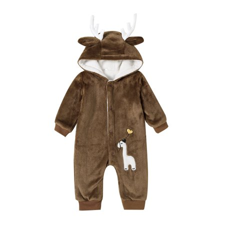 Baby Brown Long-Sleeved Plush Elk Cute Button Conjoined Suit