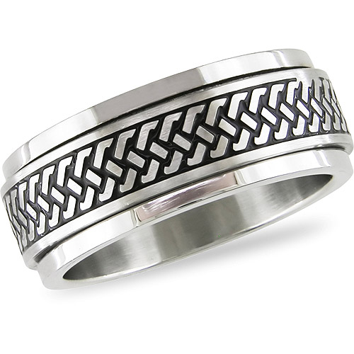 Stainless Steel Spinning Men's Ring with Black Enamel, Size 5