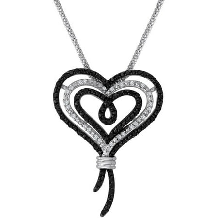 Knots of Love Sterling Silver Black and White 1/2 Carat T.W. Diamond Heart Pendant, 18