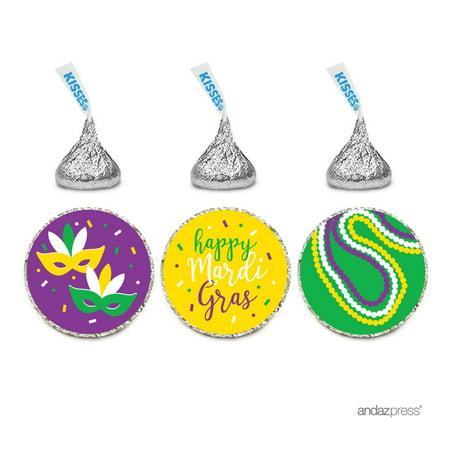 Mardi Gras Jewelry Wholesale (Chocolate Drop Labels Trio, Fits Hershey's Kisses Party Favors, Mardi Gras, 216-Pack, Envelope Seals)