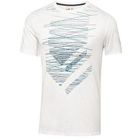 Puma Men's Performance Short Sleeve Graphic Tee Shirt T-Shirt, White Majolica