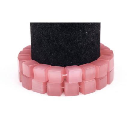 Pink Cat's Eye Beads Cube Fiber Optic Glass Beads 10mm