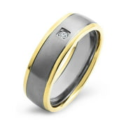 Gold Plated Titanium 0.03 CTW Diamond Brushed Ring (H-I, SI2)