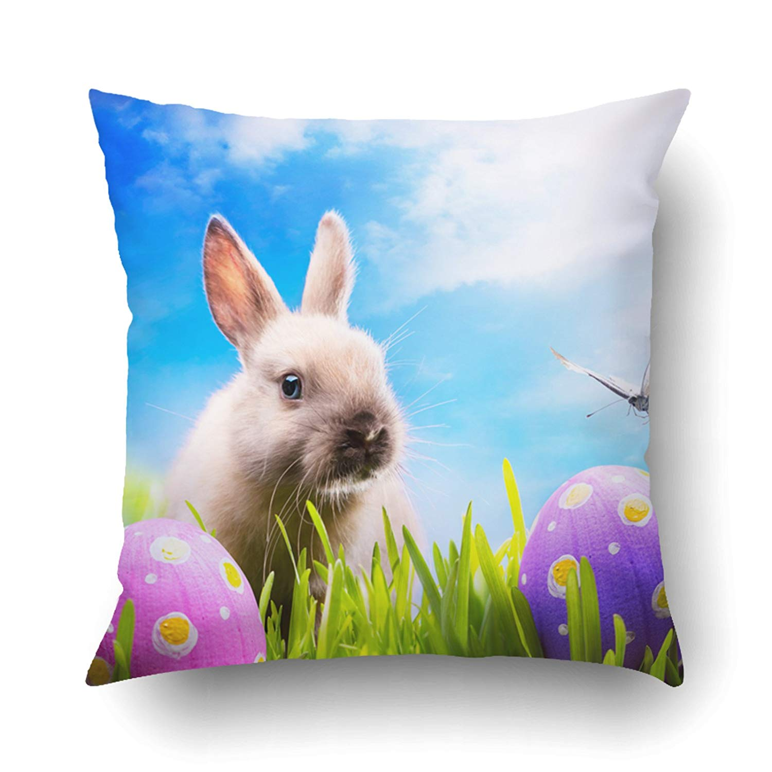 Raz 18 Colorful Bunny Easter Pillow: ARTJIA Art Little Easter Bunny And Eggs On Green Grass