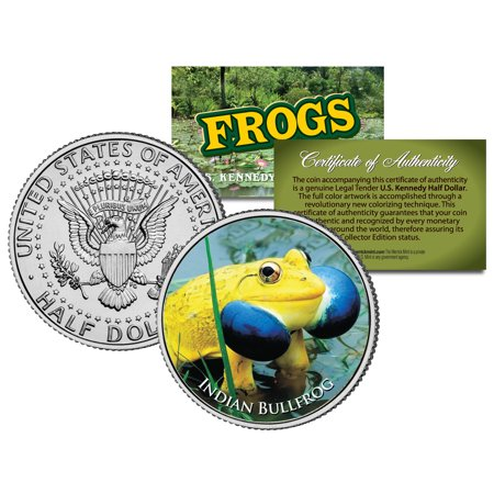 INDIAN BULLFROG * Collectible Frogs * JFK Kennedy Half Dollar US Colorized